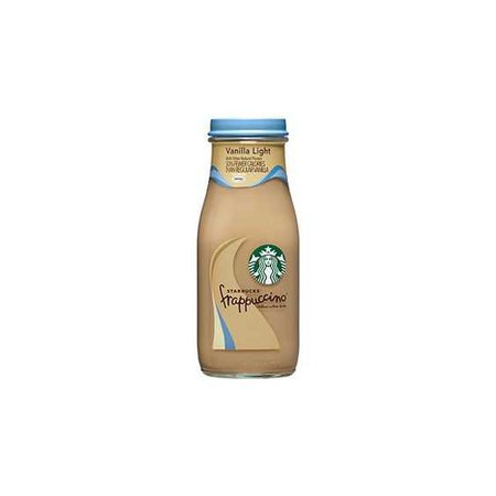 Starbucks Bottled Vanilla Light Frappuccino Coffee Drink ❤ liked on Polyvore featuring food, drinks, food and drink, fillers and starbucks