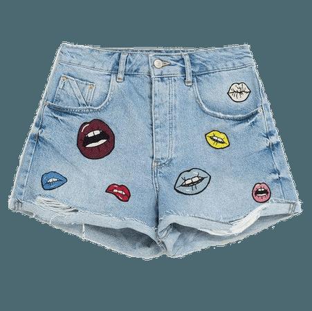 lip print light blue denim shorts png