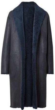 Trace Reversible Shearling Coat - Navy