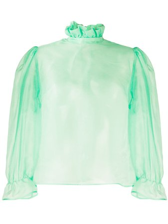 MSGM Sheer Ruffle Blouse - Farfetch