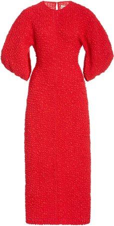 Mara Hoffman Freya Puffed-Sleeve Cloque Dress