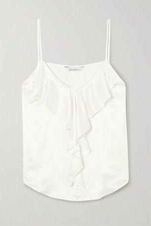 Ruffled Silk Camisole - White