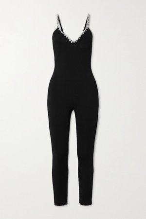 Crystal-embellished Stretch-crepe Jumpsuit - Black