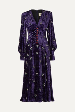 Purple Embellished velvet midi dress | Gucci | NET-A-PORTER