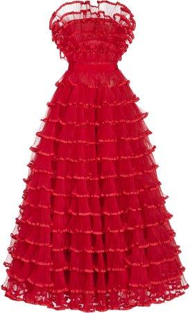 Giambattista Valli Ruffled Tulle Strapless Gown