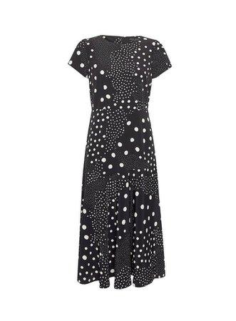 Black and White Short Sleeve Spot Print Midi Skater Dress | Dorothy Perkins