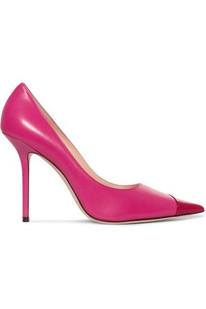 Jimmy Choo | Love 100 two-tone matte and patent-leather pumps | NET-A-PORTER.COM