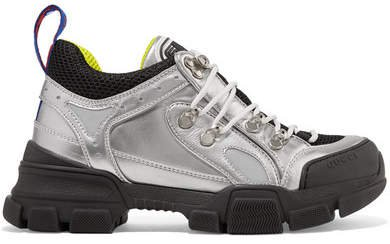 Flashtrek Metallic Leather And Mesh Sneakers - Silver