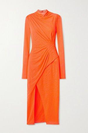 Orange Draped neon stretch-mesh dress | Sally LaPointe | NET-A-PORTER