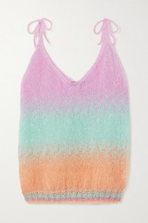 Striped Mohair-blend Camisole - Pink
