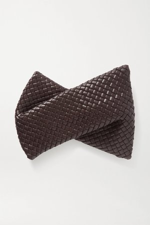 Dark brown Twist intrecciato leather clutch | Bottega Veneta | NET-A-PORTER