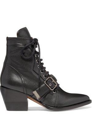 Chloé | Rylee glossed-leather ankle boots | NET-A-PORTER.COM