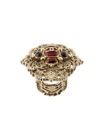 Chanel Vintage Embellished CC Ring - Farfetch