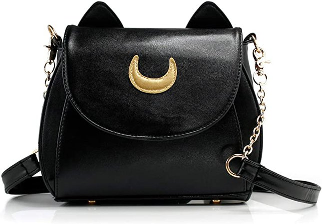 Amazon.com: Oct17 Moon Luna Design Purse Kitty Cat satchel shoulder bag Designer Women Handbag Tote PU Leather Girls Teens School Sailer Style (Black): Shoes