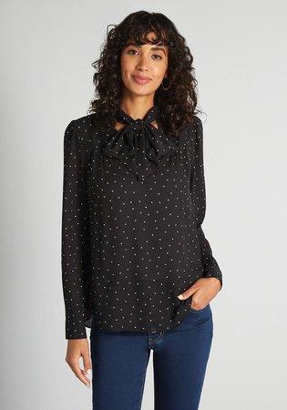 Gilli Always on Point Tie-Neck Blouse Black Polka-Dot in Black/White Polka-Dot | ModCloth