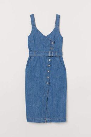 Denim Overall Dress - Blue