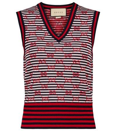 Gucci - GG jacquard wool sweater vest   Mytheresa
