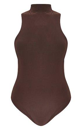 Chocolate Slinky Racer Bodysuit | PrettyLittleThing USA