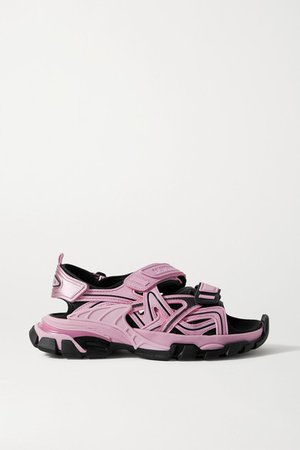 Track Logo-detailed Leather And Rubber Sandals - Pink