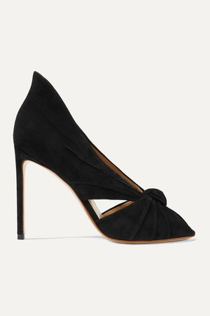 Knotted Suede Pumps - Black