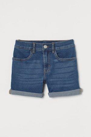 Slim Fit Denim Shorts - Blue
