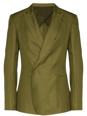 Haider Ackermann Double-Breasted Invisible Button Blazer 2033000131035 Green | Farfetch