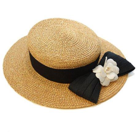 Chanel, Straw Camellia Ribbon Hat