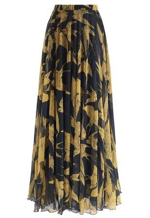 Swallows Print Maxi Skirt - Retro, Indie and Unique Fashion