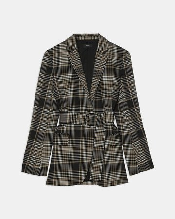 Belted Blazer in Plaid Wool