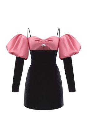 Rasario Puff Sleeve Satin Velvet Mini Dress