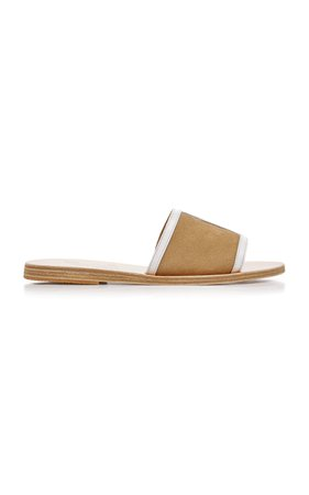 Ancient Greek Sandals Illia Cutout Patent-Leather And Suede Slides