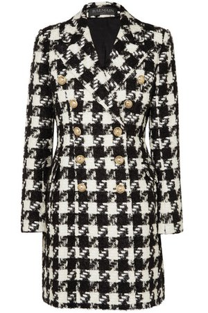 Balmain   Double-breasted houndstooth tweed coat   NET-A-PORTER.COM