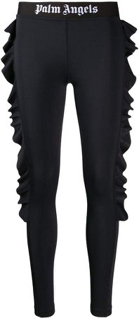 ruffled side logo leggings