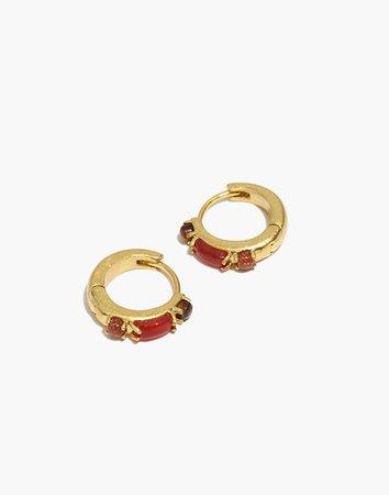 Stone Inlaid Huggie Hoop Earrings