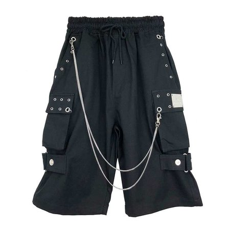 CARGO PANTS WITH CHAIN BLACK