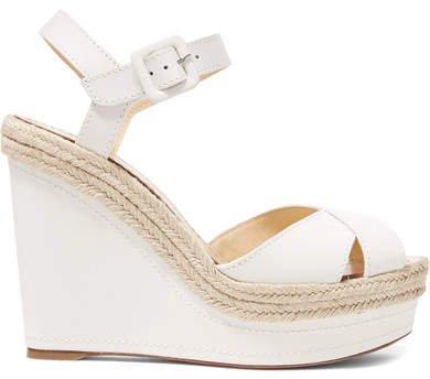 Almeria 120 Leather Espadrille Wedge Sandals - White