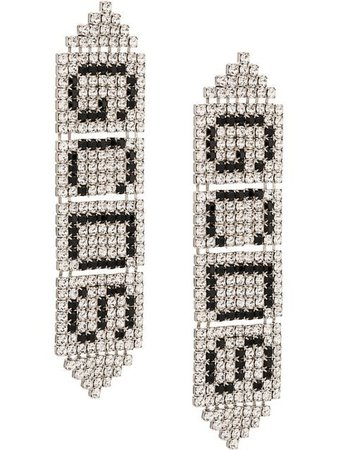 Gcds Crystal Logo Earrings - Farfetch