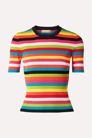 Striped Ribbed-knit Top - Pink