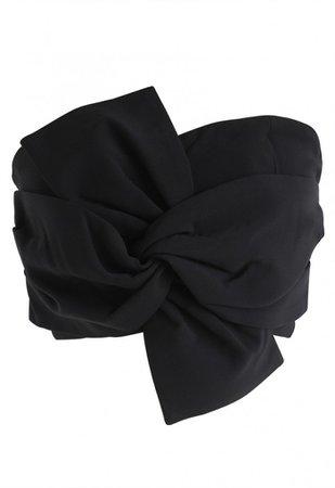 Sweet Knot Bustier Top in Black
