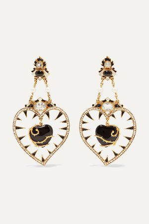 Black Gold-plated multi-stone earrings | Percossi Papi | NET-A-PORTER