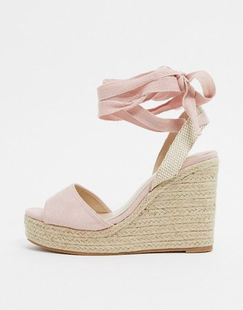 Glamorous espadrille wedge sandal with ankle tie in blush pink | ASOS