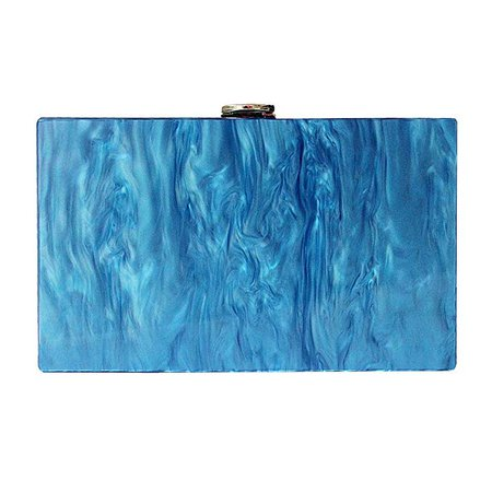 New Fashion Accessory Women Cute Bag Acrylic Blue Solid Night Dinner Handbag Woman Wedding Evening Bag Trendy Party Clutch Purse: Handbags: Amazon.com