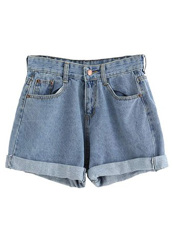 SweatyRocks Women's Retro High Waisted Rolled Denim Jean Shorts with Pockets at Amazon Women's Clothing store: