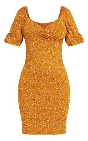Mustard Ditsy Floral Print Puff Sleeve Midi Dress | PrettyLittleThing USA