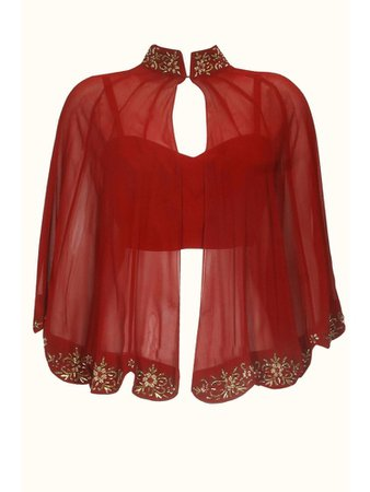 Red crop top w/ sheer red crystal shall
