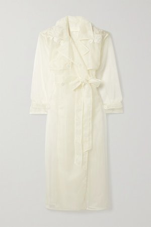Allegra Corded Lace-trimmed Organza And Tulle Trench Coat - Ivory