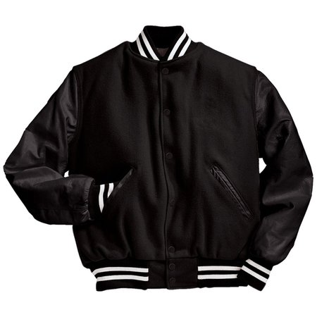 black letterman bomber jacket