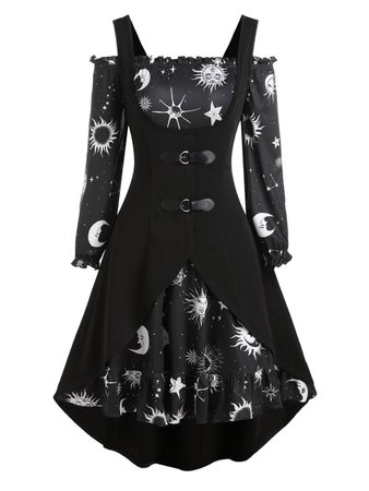 [37% OFF] 2021 Sun Moon Star Print Dress And Buckle High Low Vest In BLACK   DressLily