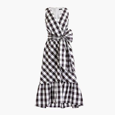 J.Crew: Sleeveless Faux-wrap Dress In Gingham Cotton Poplin white