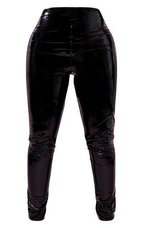 Shape Black Vinyl Thong Back Leggings   Curve   PrettyLittleThing USA